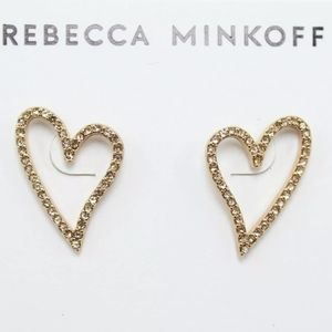 REBECCA MINCOFF ROSE GOLD PAVE STUD EARRINGS